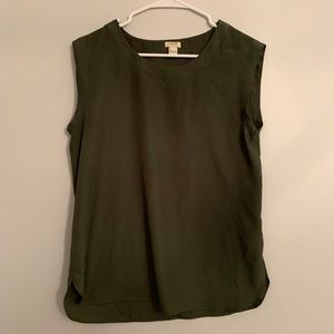 J Crew olive green silky top
